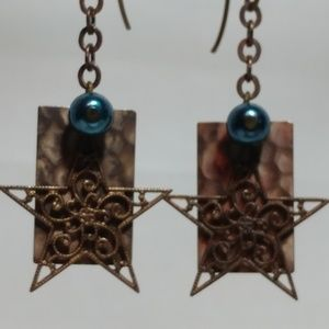 Vintage Hammered/Filigree Brass Earrings